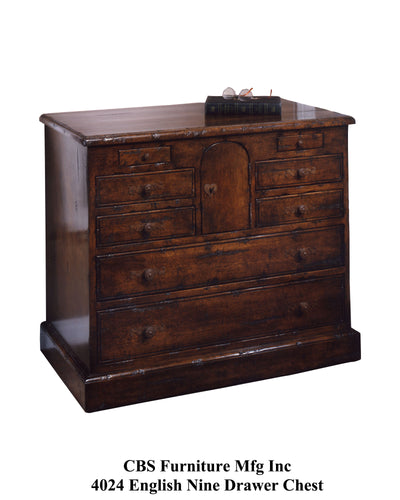 4024 ENGLISH NINE DRAWER CHEST