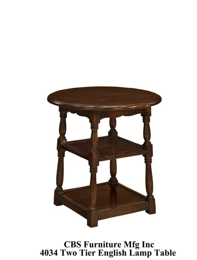 4034 TWO TIER ENGLISH LAMP END TABLE