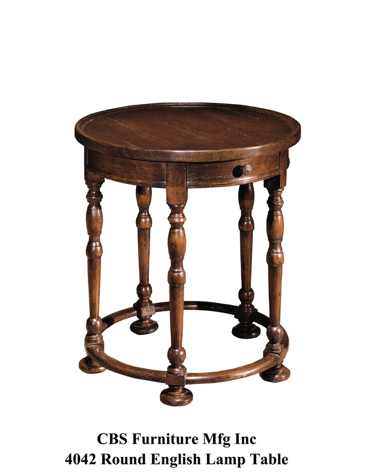 4042 ROUND ENGLISH LAMP END TABLE