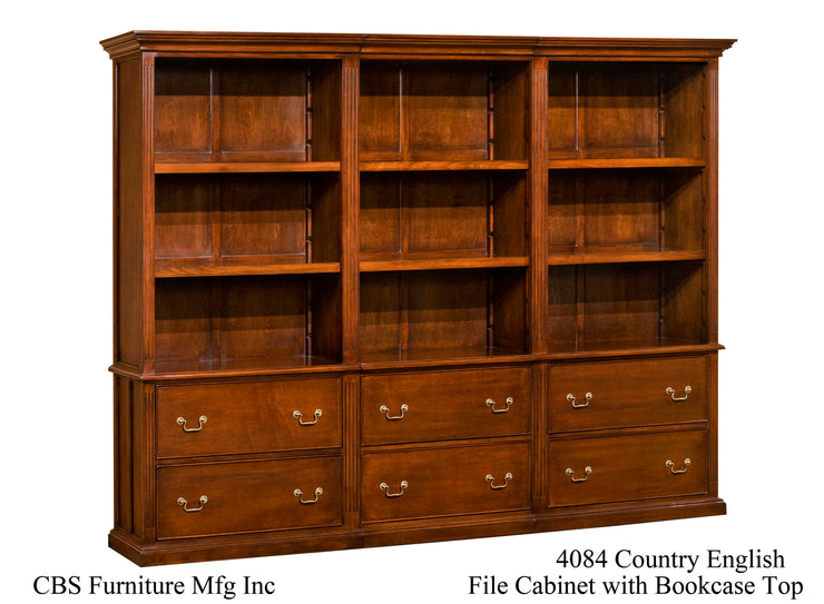 4084 COUNTRY ENGLISH FILE CABINET WITH BOOKCASE TOP