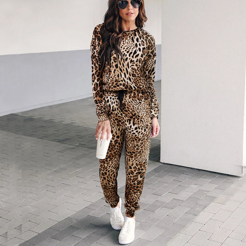 Round Neck Leopard-Print Top And Pants Casual Sport Suit