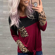 Leopard Print Round Neck Long Sleeve Splicing T-Shirt