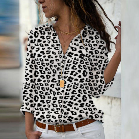 Lapel Leopard Printed Long Sleeve Blouses