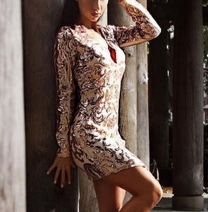Sexy long-sleeved sequins embroidery night Mini dress