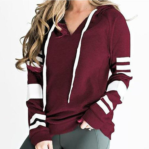 Striped Print Hooded Hoodie