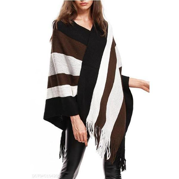 V Neck  Asymmetric Hem  Striped Cardigans