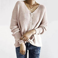 V Neck  Single Breasted  Plain Cardigans