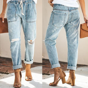 Fashion Broken Holes Patch Pocket Denim Jeans Pants