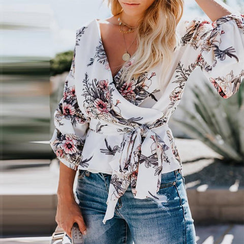 Surplice  Belt Contrast Stitching  Floral  Bishop Sleeve Blouses