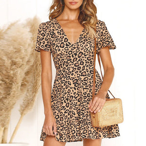 Fashion Sexy V-Neck Leopard   Ruffled Print Dress