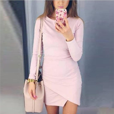 Round Neck  Asymmetric Hem  Plain  Long Sleeve Bodycon Dresses