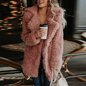 Fur Collar  Plain  Elegant  Outerwear