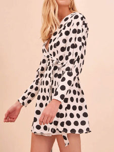 Fashion V Collar Black Dot Puff Sleeve Shift Dress