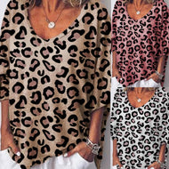 V Neck  Leopard T-Shirts