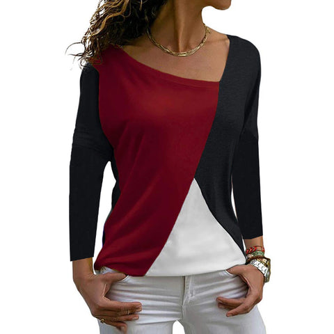 Irregular Collar  Patchwork  Casual  Color Block  Long Sleeve  T-Shirts