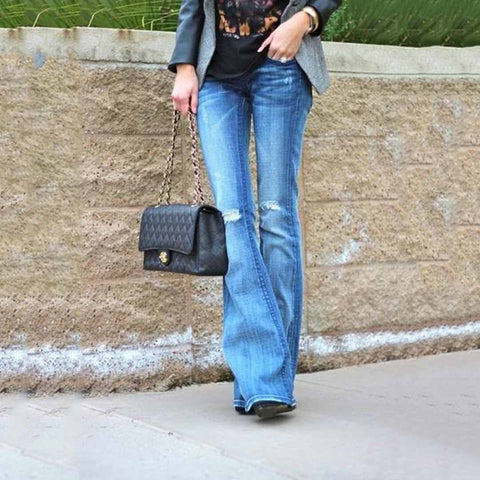 Casual Slim High Stretch Flared Jeans