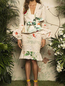 Fashion Deep V Collar Hollow Out Floral Printed Suit