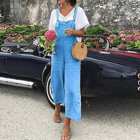 Linen Casual Fashion Strap Jumpsuit