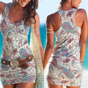 Round Neck Printed Sleeveless Bodycon Dresses