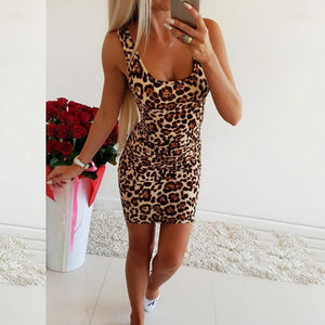 Spaghetti Strap Leopard Printed Sleeveless Bodycon Dresses