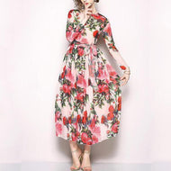 Floral Printed Chiffon Long-Sleeved Swagger Dress
