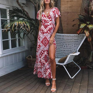 Deep V Neck  Printed  Short Sleeve Maxi Dresses