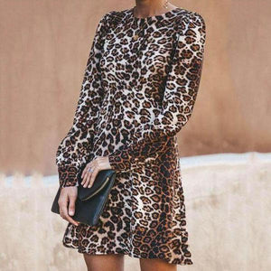 Round Neck  Leopard  Long Sleeve Casual Dresses