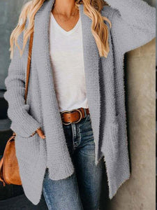Casual Long Sleeve Plain Knitting Pocket Cardigans