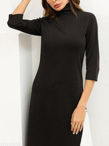 Autumn High Collar Stretch High Slit Knitwear