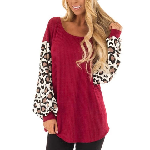 Round Neck Leopard Stitching Long Sleeve Printed T-Shirt