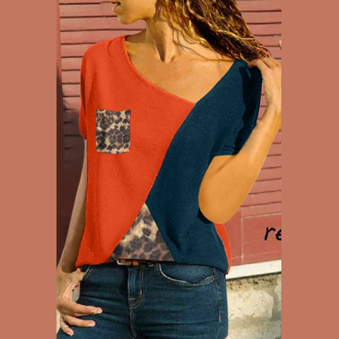 V Neck  Leopard Patchwork T-Shirts