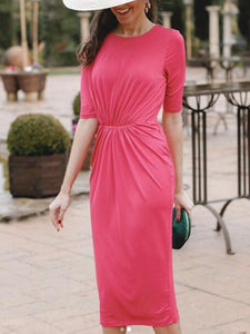 Fashion Plain Half Sleeve Casual Dress