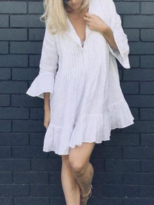 Cotton Pleated Button Trumpet Sleeves Loose Beach Dress