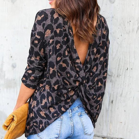 Backless  Leopard Long sleeve Long sleeve T-Shirts