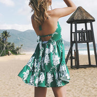 Sexy Deep V Collar Printing Sleeveless Beach Vacation Dress