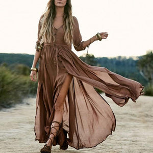 Elegant V-Neck Plain Maxi Dress