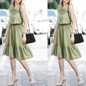 Round Neck Sleeveless Lace Up Ruffles Casual Dress