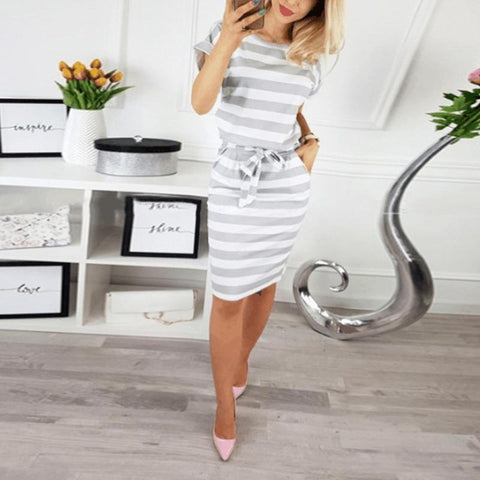 Round Neck Short Sleeve Stripes Bodycon Dress