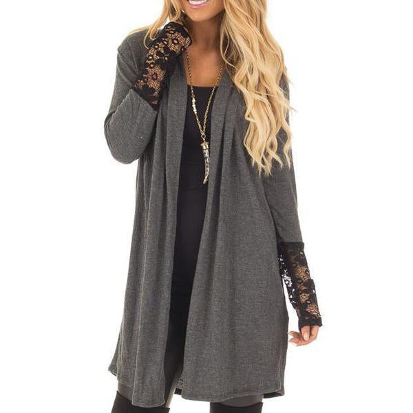 Decorative Lace  Plain  Long Sleeve Cardigan