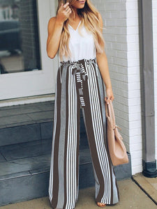 High Waist Slim Thin Striped Casual Straight Pants