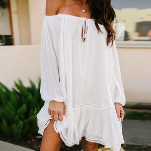Sexy Off Shoulder Plain Long Sleeve Lace Up Casual Dress