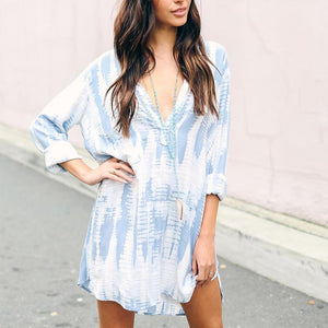 Deep V Neck Short Sleeve Printed Casual Dress