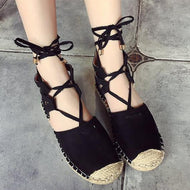 Fashion Plain Lace-Up Flat Sandals