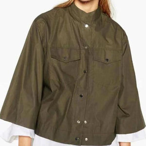 Band Collar  Cotton  Plain Jackets