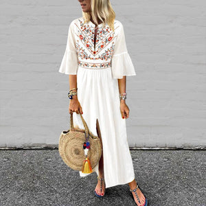 V-Neck Cotton/Linen Printed Casual Dresses