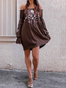 Sexy Off Shoulder Floral Printed Shift Dress