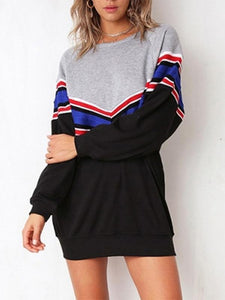 Striped Pullover Loose Long Sleeve T-Shirt Hoodie