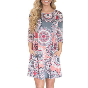 Fashion Round Collar Floral Printed Shift Dress