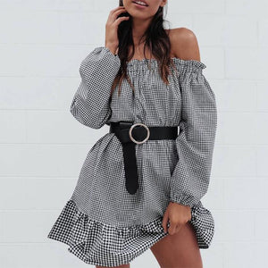 Off Shoulder Autumn Long Sleeve Plaid Mini Dress