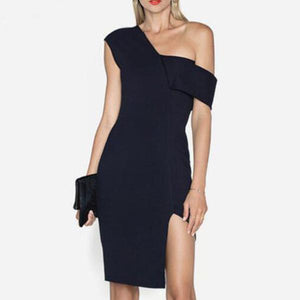 Elegant Sexy Fashion Slim Plain One Shoulder Fork Bodyon Evening Dress